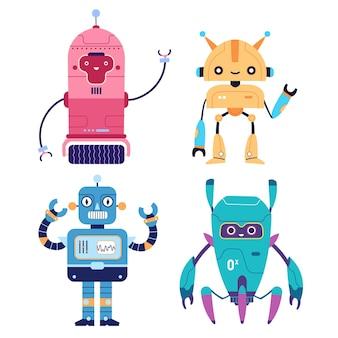 Set of happy funny robots cyborgs retro futuristic modern bots wave hand hello illustration