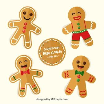 Set of happy gingerbread man cookies