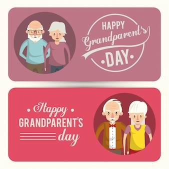 Set of happy grandparents day card with cartoons