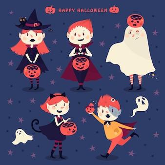 Set of happy halloween characters