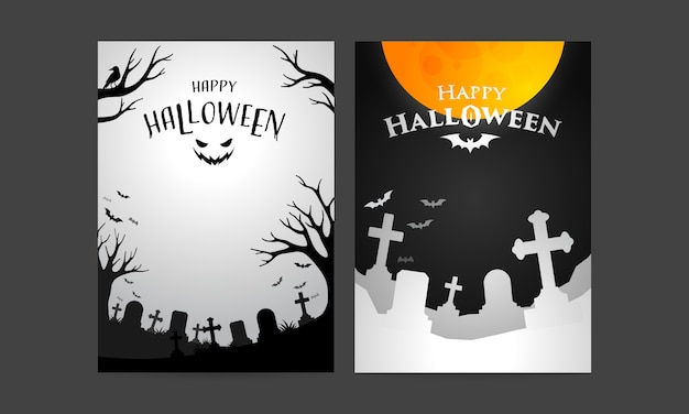 Set of happy halloween cover template