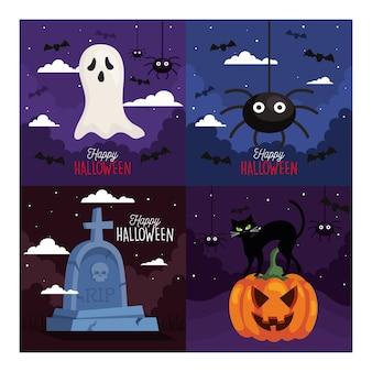 Set  of happy halloween illustration