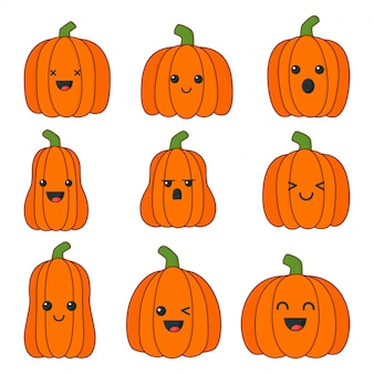 Set of happy halloween pumpkins with different faces isolated on white background.