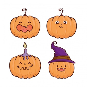 Set of happy halloween scary pumpkins vector illustration design