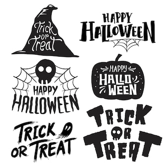 Set of happy halloween vectors