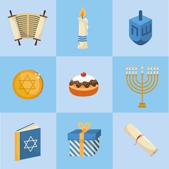 Set happy hanukkah decoration to tradition religion