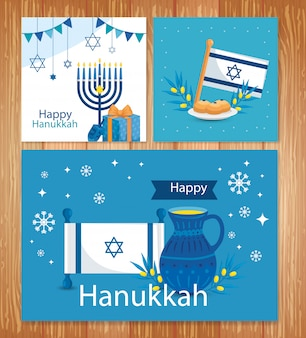 Set of happy hanukkah greeting card