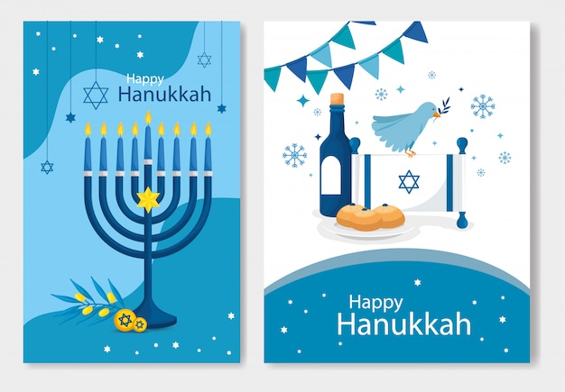 Set of happy hanukkah with decoration