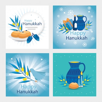 Set of happy hanukkah with decoration