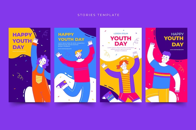 Set of happy international youth day stories template