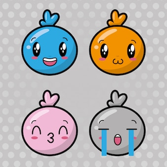 Set of happy kawaii emojis