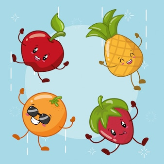 Set of happy kawaii fruits emojis