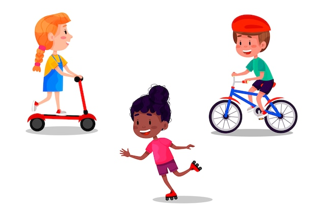 Set of happy kids riding skates, rollers, scooter and bike. summer holidays outdoor activities for children. illustration on white isolated background.