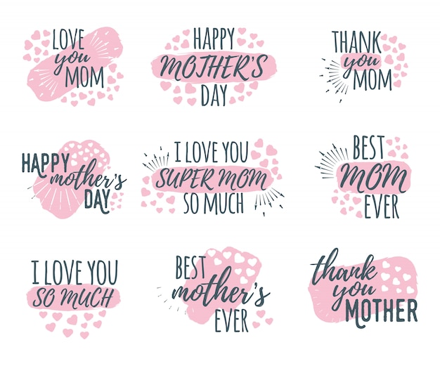 Set of happy mother's day calligraphy and font greeting design