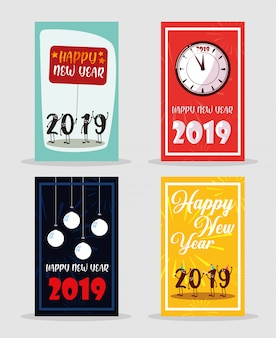 Set of happy new year 2019 lettering