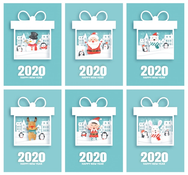 Set of happy new year 2020 cards with santa and friends in paper cut style