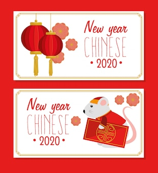 Set of happy new year chinese 2020 with decoration vector illustration design