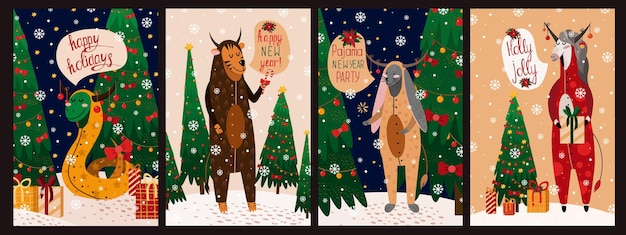 Set of happy new year illustrations card with bunny, snake, horse, tiger