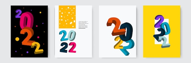 Set of happy new year posters greeting cards holiday covers merry christmas design templates with ty...