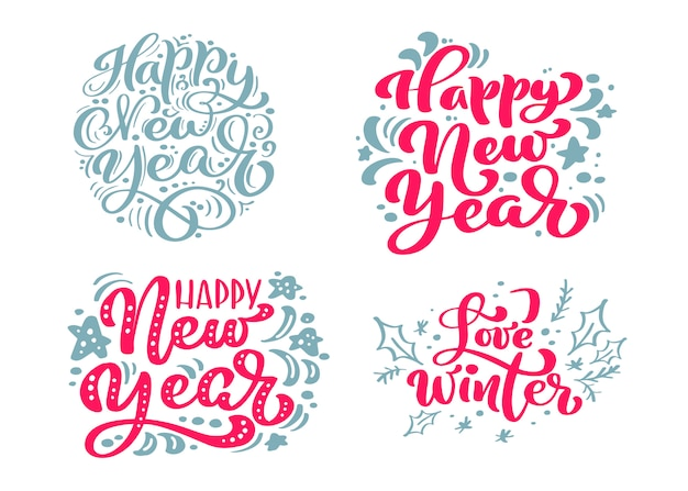 Set happy new year text calligraphic lettering merry christmas