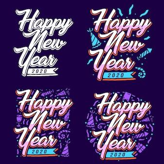 Set of happy new year