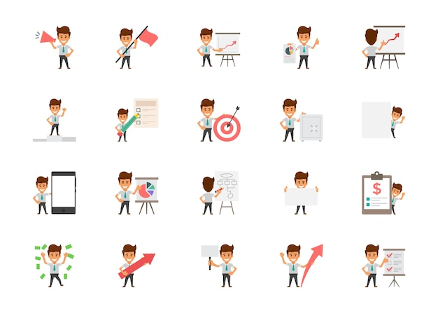 Set of happy office workers flat vector icons