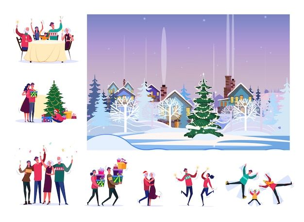 Set of happy people celebrating christmas Free Vector