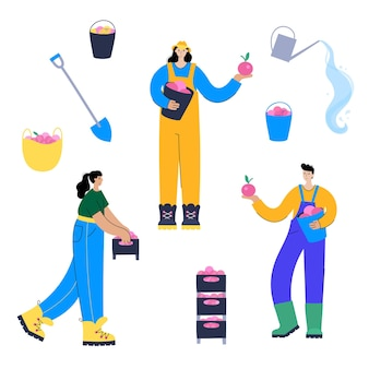 Set of happy people during the harvest with tools. flat vector illustration on white background.
