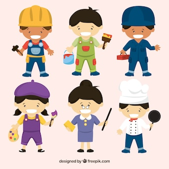 Set of happy people with different jobs in flat style