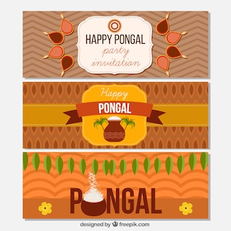 Set of happy pongal abstract banners