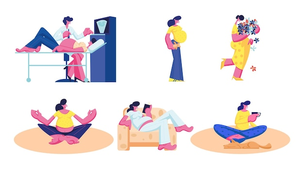 Set of happy pregnant woman waiting baby exercising in gym, visiting ultrasound, female character fitness sports activity, cartoon illustration