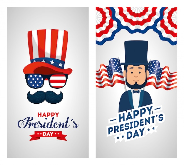 Set of happy presidents day greeting card