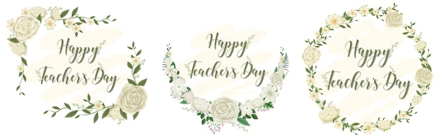 Set of happy teacher's day logo with floral theme