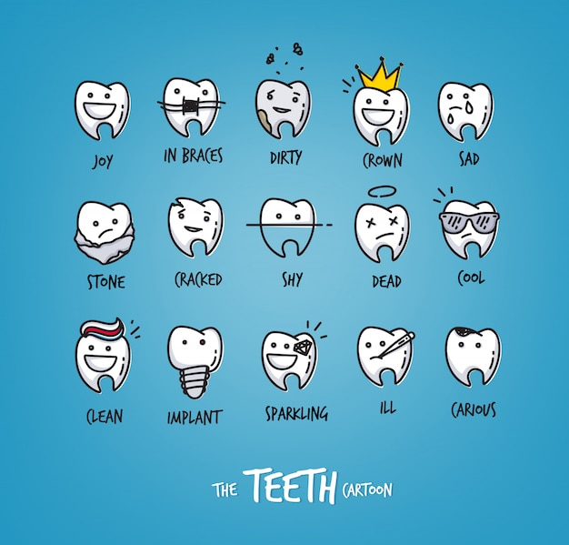 Set of happy teeth characters collection for your design.