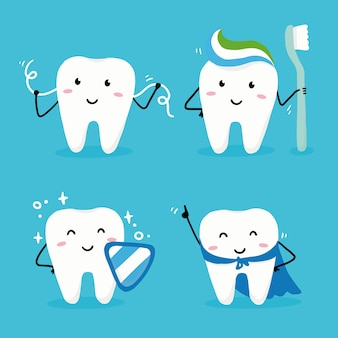 Set of happy tooth character with face. dental kawaii style illustartion for kids and children dentist design.