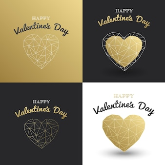 幸せなバレンタインデーカードを設定します。ゴールドの多角形のハート。