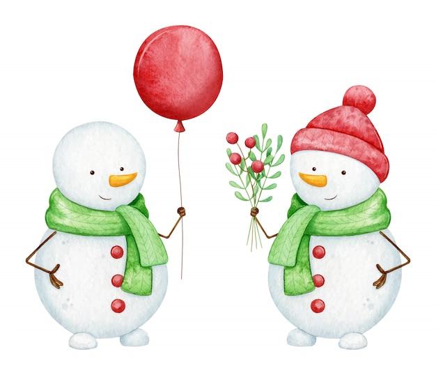 Set of happy watercolor snowmen