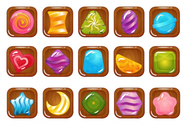 Set of hard cadies, lollipop and jelly icons