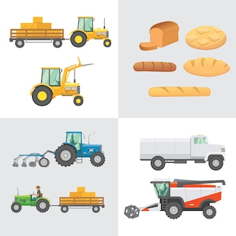 セット収穫。農業機械、農用車両、収集パンの生産。トラクター、ハーベスタ、フラットなデザインのイラストを組み合わせています。
