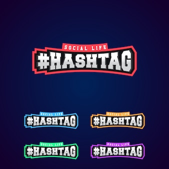Set of the hashtag power full typography 3d silver or steel metallic premium emblem logo design for t-shirt