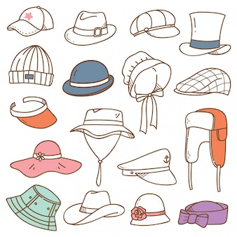 Set of hats doodle isolated