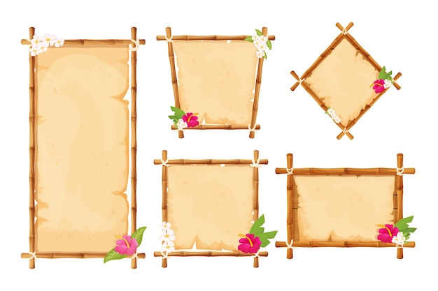 Set hawaiian bamboo frames with parchment and tropical flowers in cartoon style