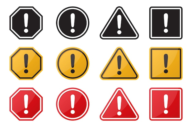 Set of hazard warning attention sign. illustration