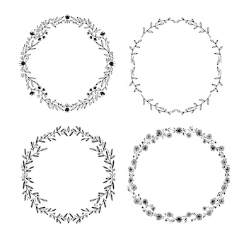 Set of hdraw  victory laurel  wedding flower wreaths for stationary. single line dravwing.