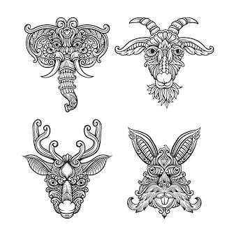 Set head of an animals ornamental black and white drawing indian mandala