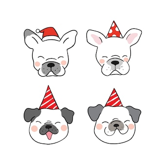 Set head of funny dog with beauty party hat