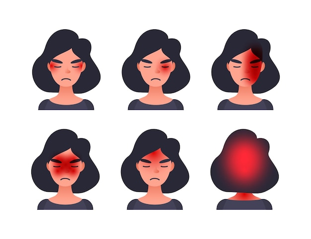 Set of headache types on different area of patient head