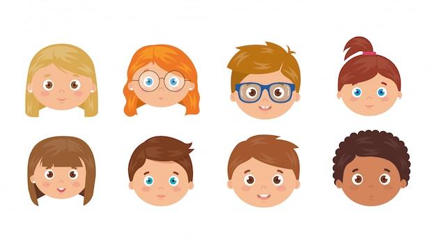 Set of heads of children smiling on white illustration