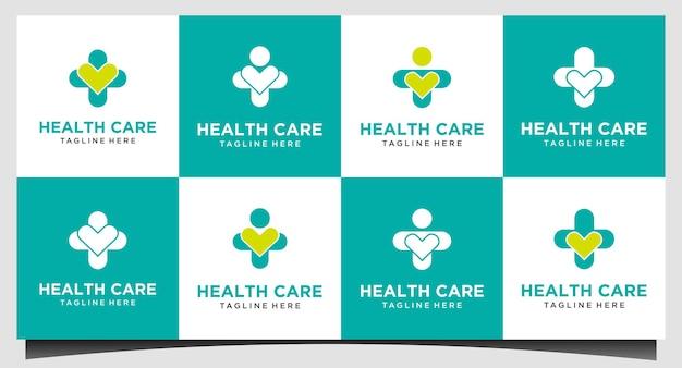 Set health care medical logo vector