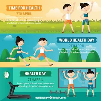 Set di banner di giorno di salute con le persone che fanno sport